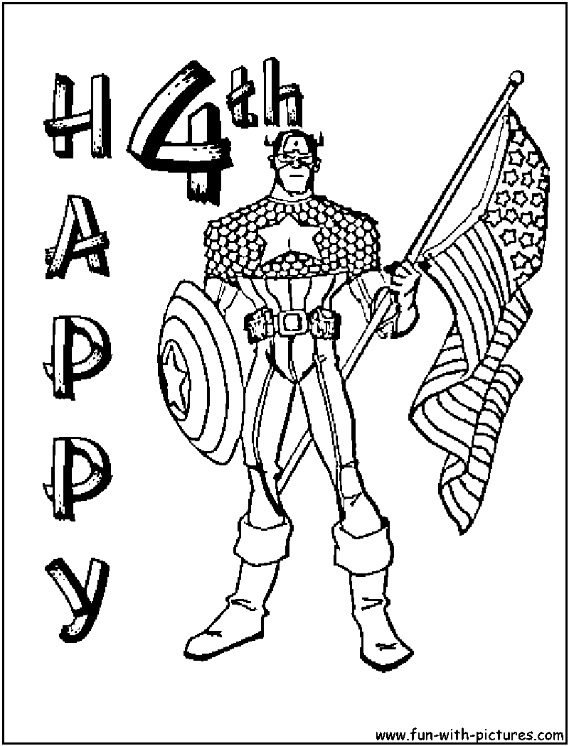 graphic relating to July 4th Coloring Pages Printable identified as Captain The united states July4th Coloring Webpage