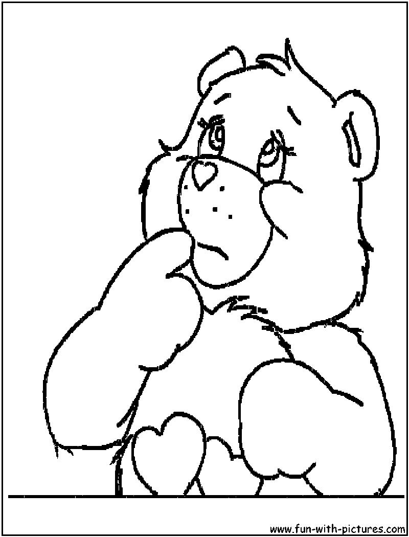 sad care bear coloring pages | Care Bear Coloring Page3