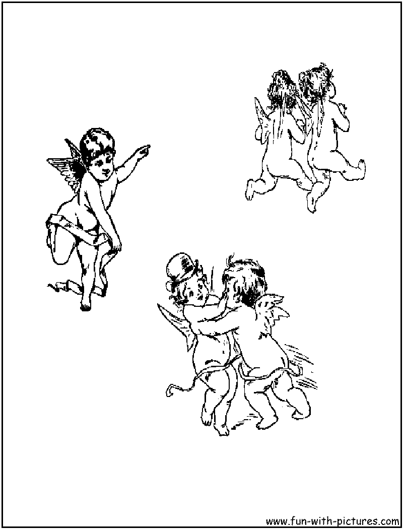 Cherubs Playing Coloring Page