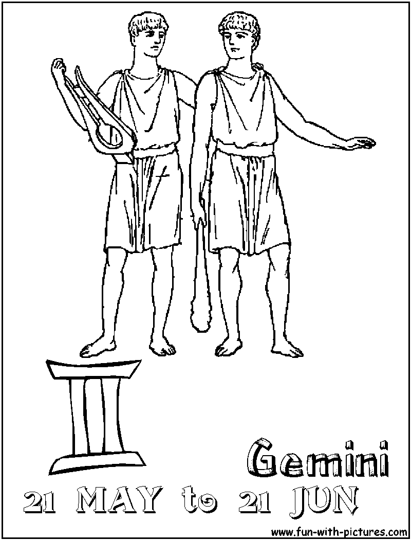 Gemini zodiac sign coloring book for adults vector illustration ... | 1050x800