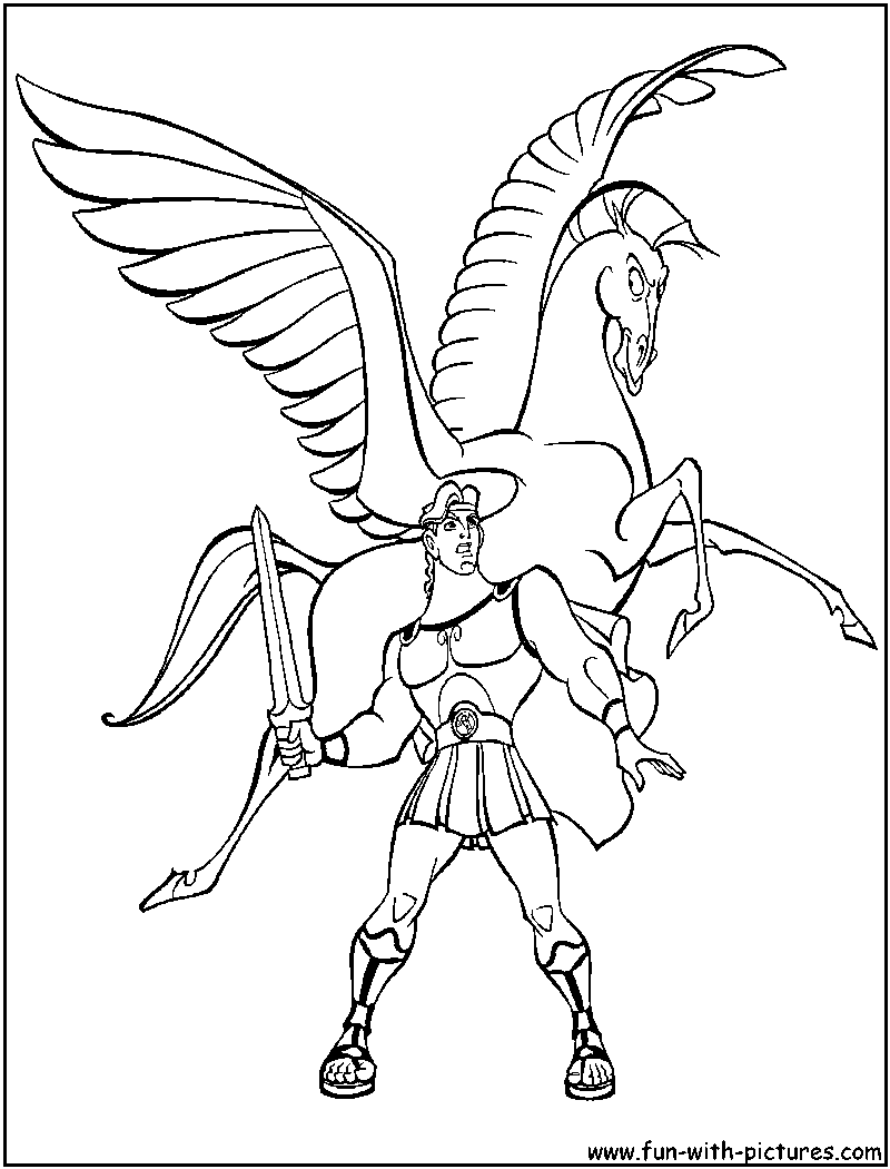 hercules pegasus coloring page