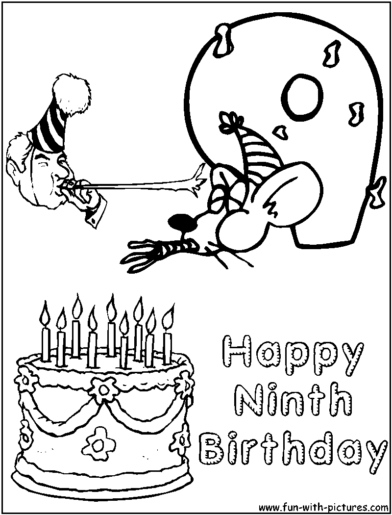 Ninth Birthday Coloring Page