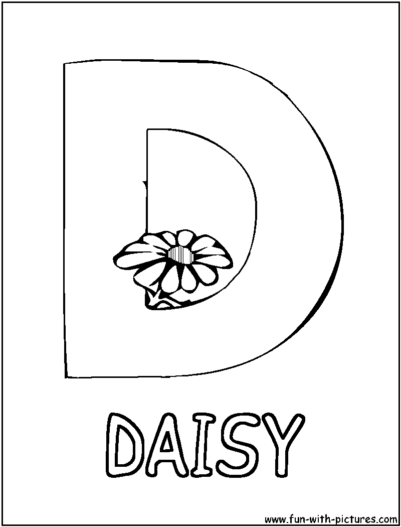 Picture Alphabets D Coloring Page