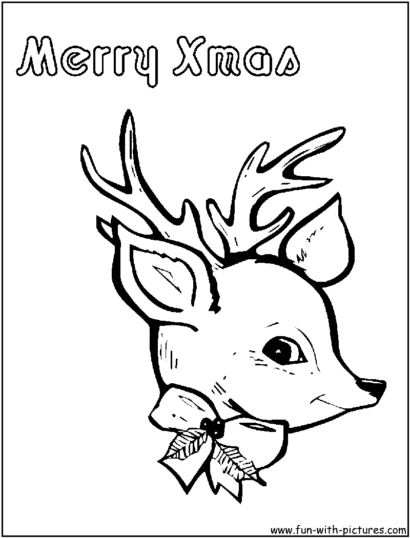 Reindeer Face Christmas Coloring Page