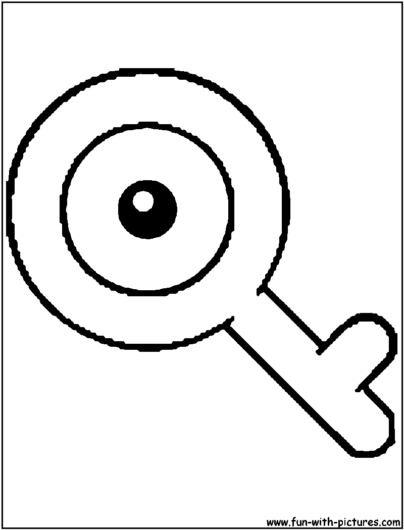 Unown Q Coloring Page